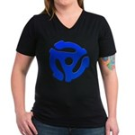 Blue 45 RPM Adapter Women's V-Neck Dark T-Shirt