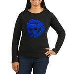 Blue 45 RPM Adapter Women's Long Sleeve Dark T-Shirt