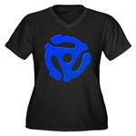 Blue 45 RPM Adapter Women's Plus Size V-Neck Dark T-Shirt