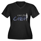 Blue Executive Chef Women's Plus Size V-Neck Dark