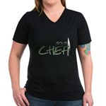 Green Sous Chef Women's V-Neck Dark T-Shirt