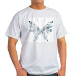Blue Tribal Butterfly Tattoo Light T-Shirt