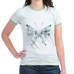 Blue Tribal Butterfly Tattoo Jr. Ringer T-Shirt