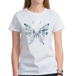 Blue Tribal Butterfly Tattoo Women's T-Shirt