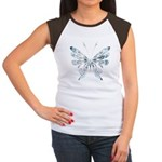 Blue Tribal Butterfly Tattoo Women's Cap Sleeve T-Shirt