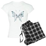 Blue Tribal Butterfly Tattoo Women's Light Pajamas