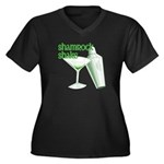 Shamrock Shake Women's Plus Size V-Neck Dark T-Shirt