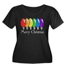 Merry Christmas Rainbow Lights Women's Plus Size S