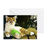 Kitten with a leg cast Greeting Cards (Pk of 10)