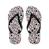 Maroon and Gray Music Flip Flops