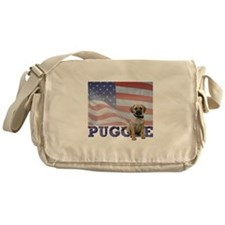 Patriotic Puggle Messenger Bag