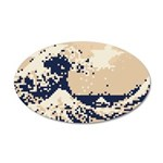 Pixel Tsunami Great Wave 8 Bit Art 20x12 Oval Wall
