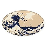 Pixel Tsunami Great Wave 8 Bit Art Sticker (Oval)