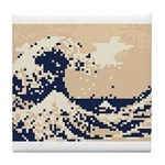 Pixel Tsunami Great Wave 8 Bit Art Tile Coaster