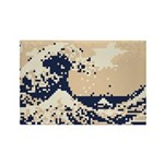 Pixel Tsunami Great Wave 8 Bit Art Rectangle Magne