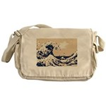 Pixel Tsunami Great Wave 8 Bit Art Messenger Bag