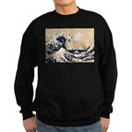 Pixel Tsunami Great Wave 8 Bit Art Sweatshirt (dar