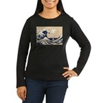 Pixel Tsunami Great Wave 8 Bit Art Women's Long Sl