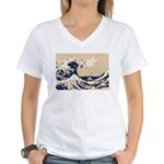 Pixel Tsunami Great Wave 8 Bit Art Women's V-Neck