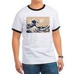 Pixel Tsunami Great Wave 8 Bit Art Ringer T
