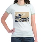 Pixel Tsunami Great Wave 8 Bit Art Jr. Ringer T-Sh