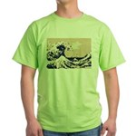 Pixel Tsunami Great Wave 8 Bit Art Green T-Shirt