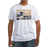 Pixel Tsunami Great Wave 8 Bit Art Fitted T-Shirt
