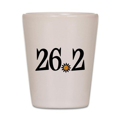 26.2 black orange flower Shot Glass