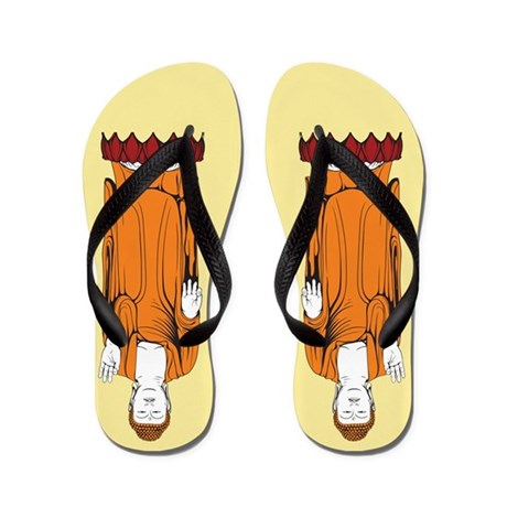 Orange Buddha Lotus Flip Flops