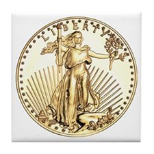 The Liberty Gold Coin Tile Coaster