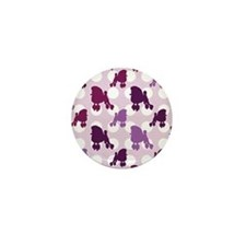 Purple Poodle Polka Dot Mini Button