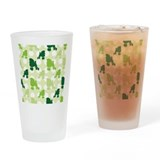 Green Poodle Polka Dot Drinking Glass