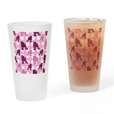Pink Poodle Polka Dot Drinking Glass