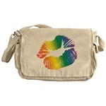 Big Rainbow Lips Canvas Messenger Bag