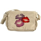 Three Big Lips Canvas Messenger Bag