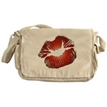 Red Lips Kiss Canvas Messenger Bag