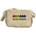 Rainbow Shamrock Lucky Charms Canvas Messenger Bag
