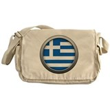 Round Flag - Greece Canvas Messenger Bag