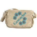 Geocacher Blue Flowers Messenger Bag