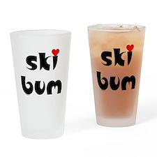 Ski Bum Heart Drinking Glass