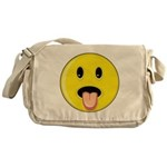 Smiley Face - Tongue Out Canvas Messenger Bag