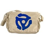 Blue 45 RPM Adapter Canvas Messenger Bag