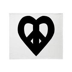 Heart Shaped Peace Black Throw Blanket
