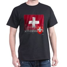 Silky Flag of Switzerland Black T-Shirt