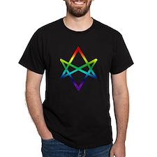 Rainbow Unicursal Hexagram  Black T-Shirt