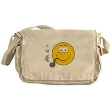 Pipe Smoking Smiley Face Messenger Bag