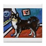 FINNISH LAPPHUND moon art Tile Coaster