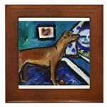 PINSCHER dog art design Framed Tile