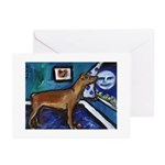 PINSCHER dog art design Greeting Cards (Package of
