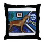 PINSCHER dog art design Throw Pillow